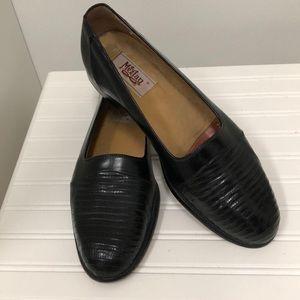 Mezlan size 9 black lizard shoes